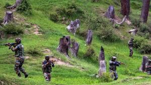 Army personnel take positions during an encounter with the militants in Keran Sector of Kupwara district of north Kashmir on Sunday, June 10, 2018. (Photo used for representative purposes only)(PTI File)