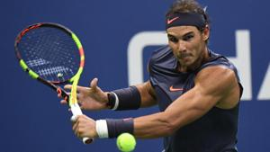 Aug 29, 2018; New York, NY, USA; Rafael Nadal of Spain hits to Vasek Pospisil of Canada in a second round match on day three of the 2018 U.S. Open tennis tournament at USTA Billie Jean King National Tennis Center.(USA TODAY Sports)