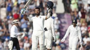 India's Cheteshwar Pujara celebrates getting 100 runs not out during play on the second day of the 4th cricket test match between England and India at the Ageas Bowl in Southampton, England, Friday, Aug. 31, 2018. England and India are playing a 5 test series.(AP)
