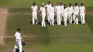 England players celebrate the wicket of India skipper Virat Kohli.(REUTERS)