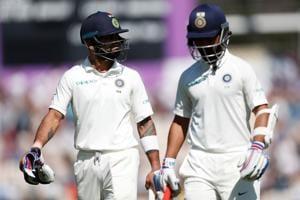Cricket - India's Virat Kohli and Ajinkya Rahane leave the field during the fourth Test against England.(REUTERS)