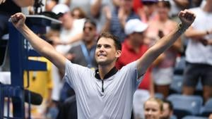 Sep 2, 2018; New York, NY, USA; Dominic Thiem of Austria celebrates his win over Kevin Anderson of South Africa (not pictured) in a fourth round match on day seven of the 2018 U.S. Open tennis tournament at USTA Billie Jean King National Tennis Center. Mandatory Credit: Danielle Parhizkaran-USA TODAY SPORTS(USA TODAY Sports)