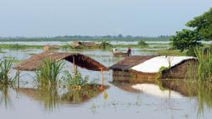 A flooded diara area in Danapur, Bihar.(Parwaz Khan /HT PHOTO)