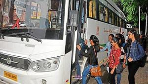 Students boarding a bus from Sector 15, Chandigarh, for Kasuali trip, organised by the NSUI, on Wednesday.(HT Photo)
