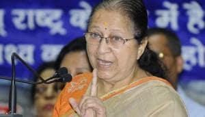 Lok Sabha speaker Sumitra Mahajan addresses an event in Chandigarh.(Anil Dayal/HT File Photo)