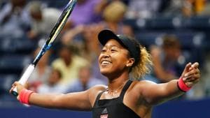 Naomi Osaka of Japan celebrates her victory over Madison Keys of the US after their 2018 US Open women's singles semi-finals tennis match on September 6, 2018 in New York.(AFP)