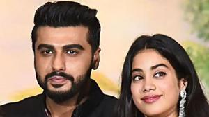 Arjun Kapoor with Janhvi Kapoor at their cousin Sonam Kapoor's wedding earlier this year.(AFP)