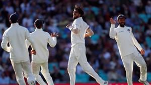 File image of Ishant Sharma celebrating with teammates after taking a wicket.(REUTERS)