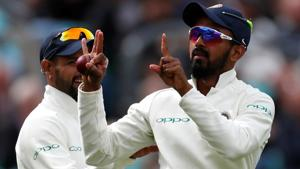 KL Rahul celebrates taking a catch to dismiss England's Stuart Broad during the fifth Test match at the Oval.(REUTERS)