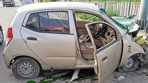 Eyewitnesses told police that the vehicle was speeding and dragged for at least 50 metres after hitting the divider.(HT Photo)