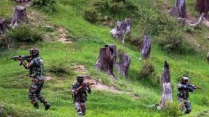Army personnel in Kupwara district of Kashmir. Security forces unearthed a cave hideout used by terrorists in Jammu and Kashmir's Rajouri district and seized a huge cache of arms and ammunition from it on Tuesday, police said.(Representative Image/PTI Photo)