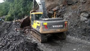 On September 3 and September 8, landslide and boulder fall was witnessed on the same mountainside near Raees Hotel.(HT Photo for representation)