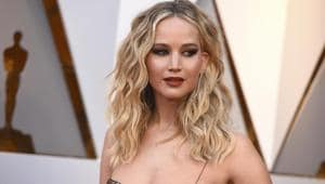 Jennifer Lawrence arrives at the Oscars at the Dolby Theatre in Los Angeles.(Jordan Strauss/Invision/AP)