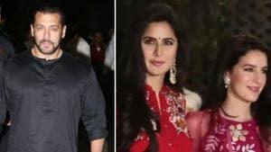 Salman Khan and Katrina Kaif at Arpita Khan's Ganesh Chaturthi celebrations in Mumbai.(Viral Bhayani)