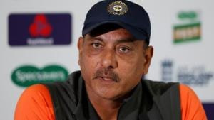 Ravi Shastri reacts during a press conference in England.(REUTERS)