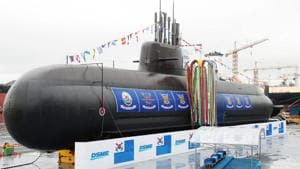 The 3,000-tonne diesel-electric submarine, Dosan Ahn Chang-ho, is seen during a launching ceremony at a shipyard on the southern island of Geoje on September 14.(AFP Photo)