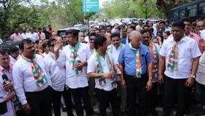 Goa Pradesh Congress Committee MLAs in Panaji, Goa in May 2018.(HT File Photo)