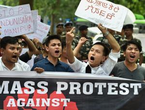 Manipur University Student's Union (MUSU) protest in New Delhi.(PTI File Photo)