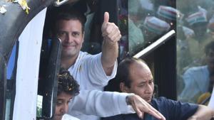 Congress president Rahul Gandhi in Bhopal on September 17, 2018.(Mujeeb Faruqui/HT Photo)