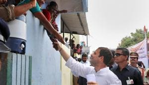 At an interactive session with girl students in Kurnool, Rahul Gandhi said PM Modi lacks direction and conviction to ensure women's safety.(PTI)