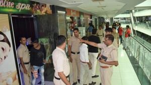 A spa centre in Omaxe Mall in Gurugram was among 55 that were sealed on Monday, September 17, 2018, by MCG for operating without the requisite license.(HT Photo)