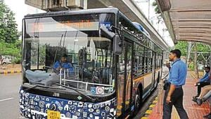 The Gurugaman bus service was launched on September 2. Currently, 23 buses operate on a single route.(PARVEEN KUMAR/HT FILE)