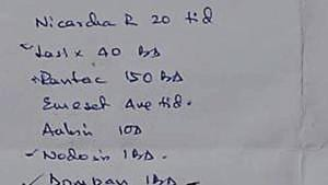 A prescription issued by a doctor in Dhanbad on Thursday.(Bijay/HT Photo)