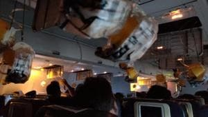 Oxygen masks are seen deployed after a loss of cabin pressure, on a Jet Airways flight, from Mumbai, in this still image obtained from social media.(Reuters Photo)