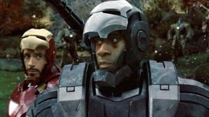 Don Cheadle and Robert Downey Jr as War Machine and Iron Man in a still from Iron Man 2.