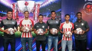 Kolkata: (L to R) Jamshedpur FC star player Tim Cahill, ATK player Gerson Vieira, NortEast United player Redeem Tlang, Jamshedpur player Subrata Paul, ATK player Eugenson Lyngdoh and NortheEast United's Bartholomew Ogbeche pose during a press conference for the upcoming ISL (Indian Super League) in Kolkata, Saturday, Sept 22, 2018.(PTI)