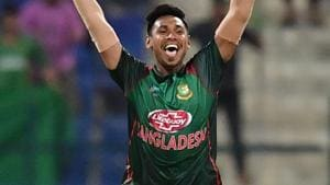 Mustafizur Rahman celebrates the victory during the Asia Cup 2018 match between Bangladesh and Afghanistan.(AFP)