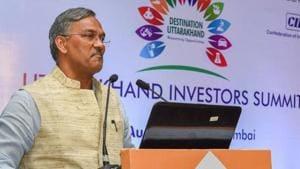 Uttarakhand Chief Minister Trivendra Singh Rawat speaks during a roadshow for Uttarakhand Investor's Summit to be held in Dehradun, in Mumbai on Aug 29, 2018.(PTI File Photo)