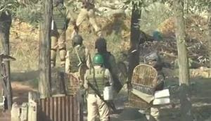 Visuals from the encounter underway in Budgam's Chadoora, on Thursday morning.(ANI/Twitter)