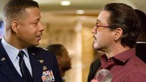 Terrence Howard and Robert Downey Jr in a still from Iron Man.