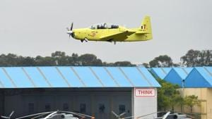 A Hindustan Turbo Trainer-40 aircraft developed by Hindustan Aeronautics Limited takes part in a test flight in Bengaluru on June 17, 2016.(AFP File Photo)