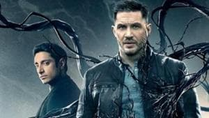 Riz Ahmed and Tom Hardy in the Vemon poster.