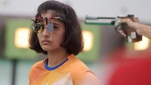 Palembang: Indian shooter Manu Bhaker competes in the 10m air pistol qualification round at the Asian Games 2018.(PTI)