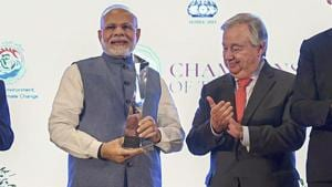 Prime Minister Narendra Modi with United Nations Secretary General Antonio Guterres after receiving UN's highest environmental honour 'Champions of The Earth Award' at a special ceremony, in New Delhi, Oct 3, 2018.(PTI/PIB)