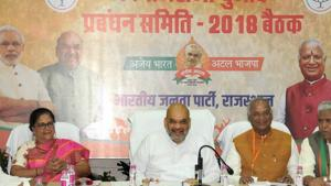 BJP president Amit Shah held a meeting with Rajasthan chief minister Vasundhara Raje and senior party members at the party office during his recent visit to Jaipur.(HT Photo)