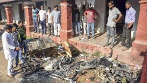 Unidentified people set ablaze the hostel room and belongings of newly-elected Allahabad Central University Students' Union president Uday Prakash Yadav, following the election result.(AP)