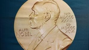 A portrait of Swedish inventor and scholar Alfred Nobel can be seen on a banner on display at the Nobel Forum in Stockholm, Sweden.(AFP)