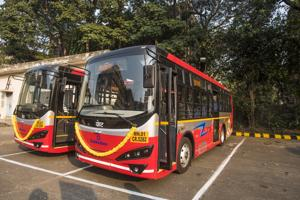 The electric buses that were procured last year.(HT PHOTO)
