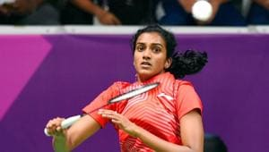 Indian shuttler PV Sindhu in action against Thailand's N Jindapol during women's singles quarterfinal badminton match at the 18th Asian Games 2018, in Jakarta on Sunday, Aug 26, 2018.(PTI)