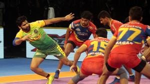 Patna Pirates' Pardeep Narwal in action against UP Yoddha in PKL 2018(PKL Image)