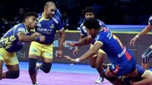 File image of Tamil Thalaiva players in action in the PKL.(PTI)