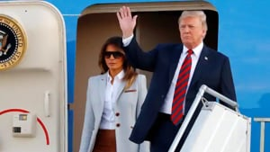 """Melania Trump says she loves President Donald Trump and has """"much more important things to think about"""" than allegations he cheated on her with a porn star, a Playboy Playmate or anyone else.(Reuters File Photo)"""