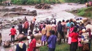 A handout photo released by Uganda Red Cross on October 11, 2018, reportedly shows the damage after a river burst its banks in the eastern town of Bukalasi, in Uganda's Bududa district.(AFP)