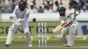 Indian cricketer Virat Kohli bats during the second day of the second cricket test match between India and West Indies in Hyderabad, India, Saturday, Oct. 13, 2018(AP)