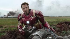 Iron Man and War Machine in a still from Captain America: Civil War.