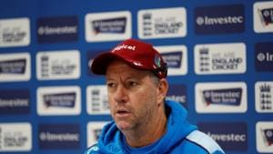 File image of West Indies coach Stuart Law during a press conference.(Reuters)